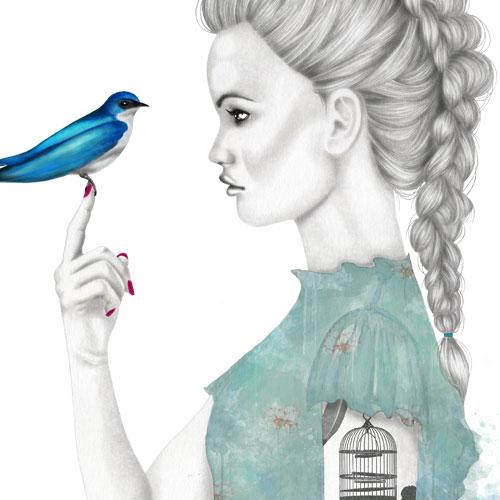 Bluebird ragazza con uccellino azzurro