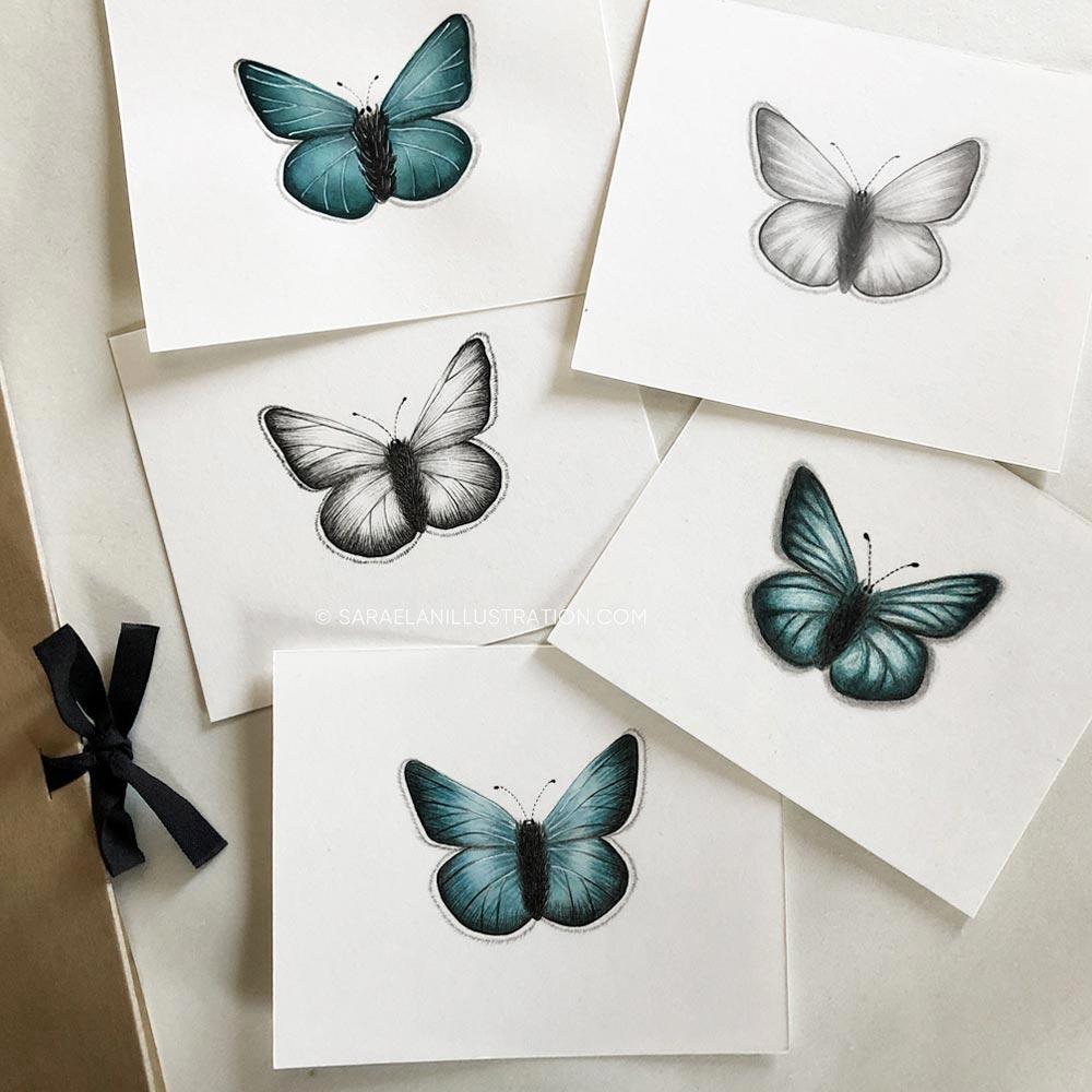 Farfalle disegnate con tecniche diverse