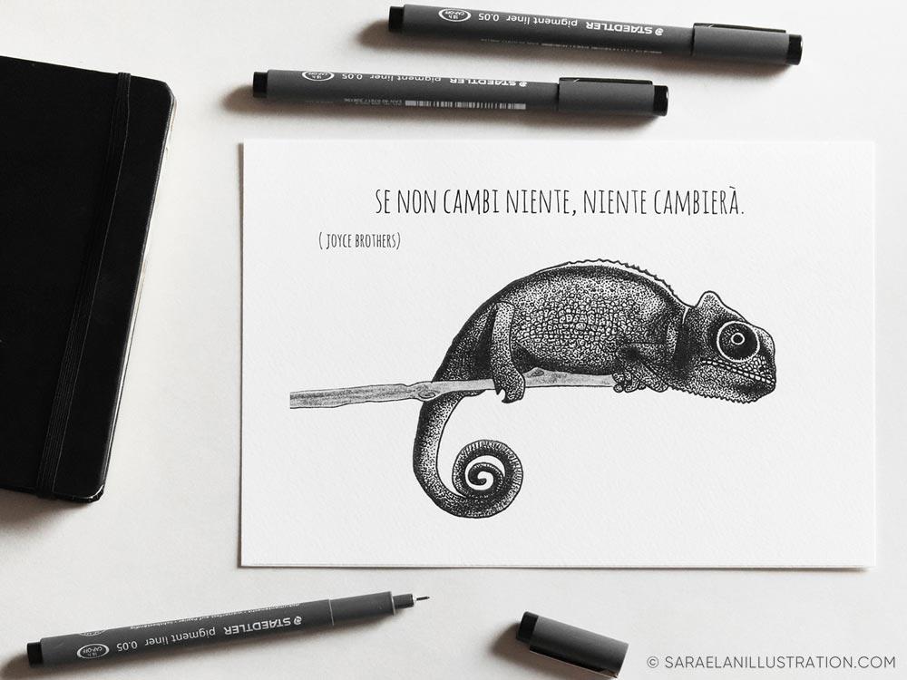 Stampa con camaleonte e frase sul cambiamento