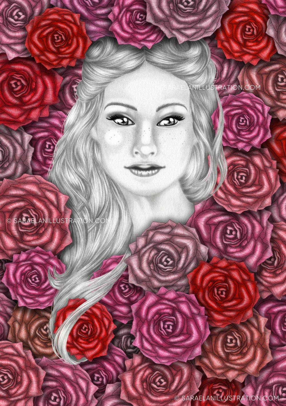 Se son rose fioriranno - Ragazza immersa nelle rose - disegni e illustrazioni di Sara Elan Donati - Saraelan illustration