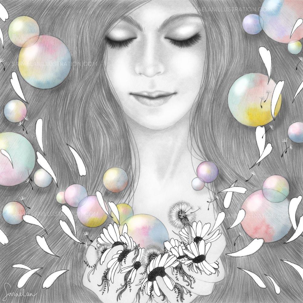 Cose Belle Festival-contest di illustrazione premio interazioni-Cosa è la felicità disegno di ragazza con margherite soffioni e bolle di sapone