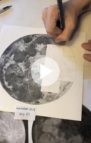 Disegnando la luna nelle stories di Instagram
