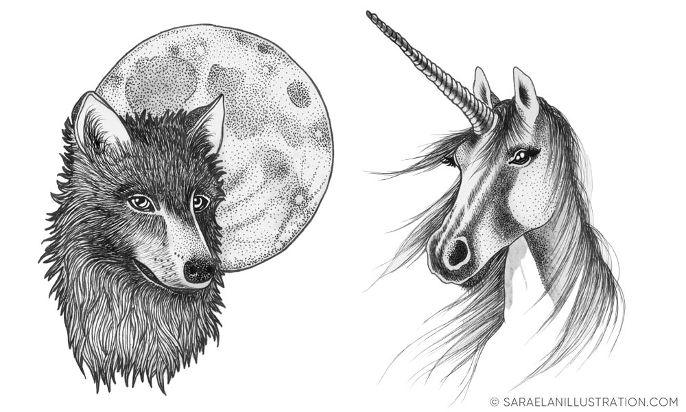 Lupo e unicorno - illustrazioni realizzate in inchiostro
