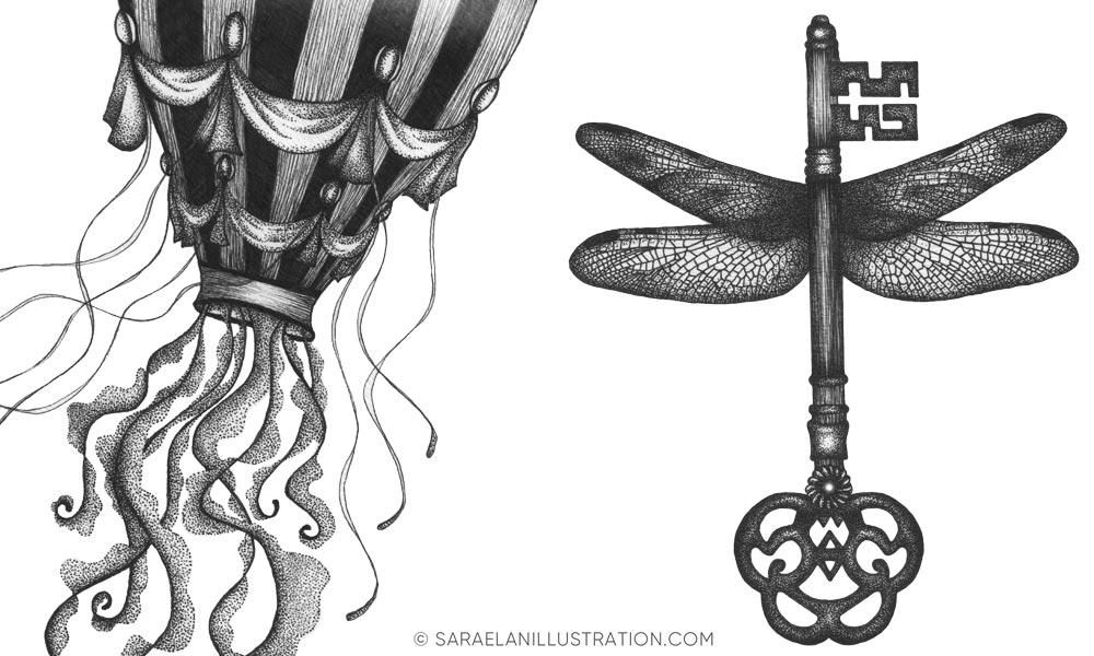 Illustrazioni vintage in dotwork