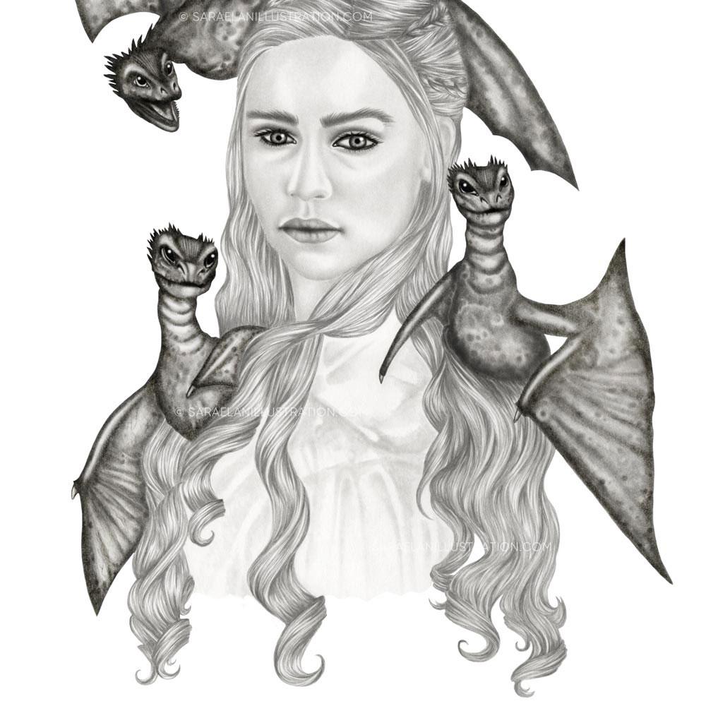 Disegno a matita di Daenery Targaryen khaleesi