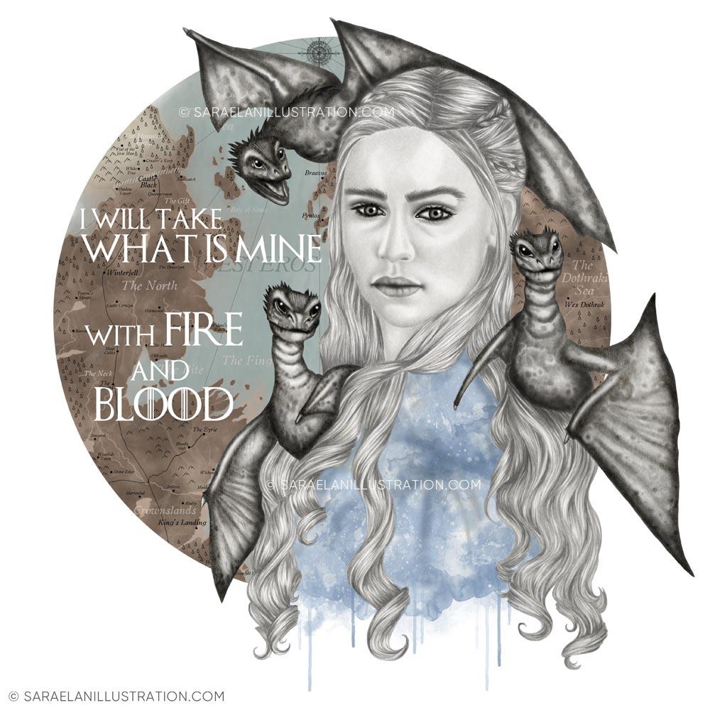 Disegno fan art di Daenery Targaryen khaleesi di Game of Thrones di Saraelan illustration