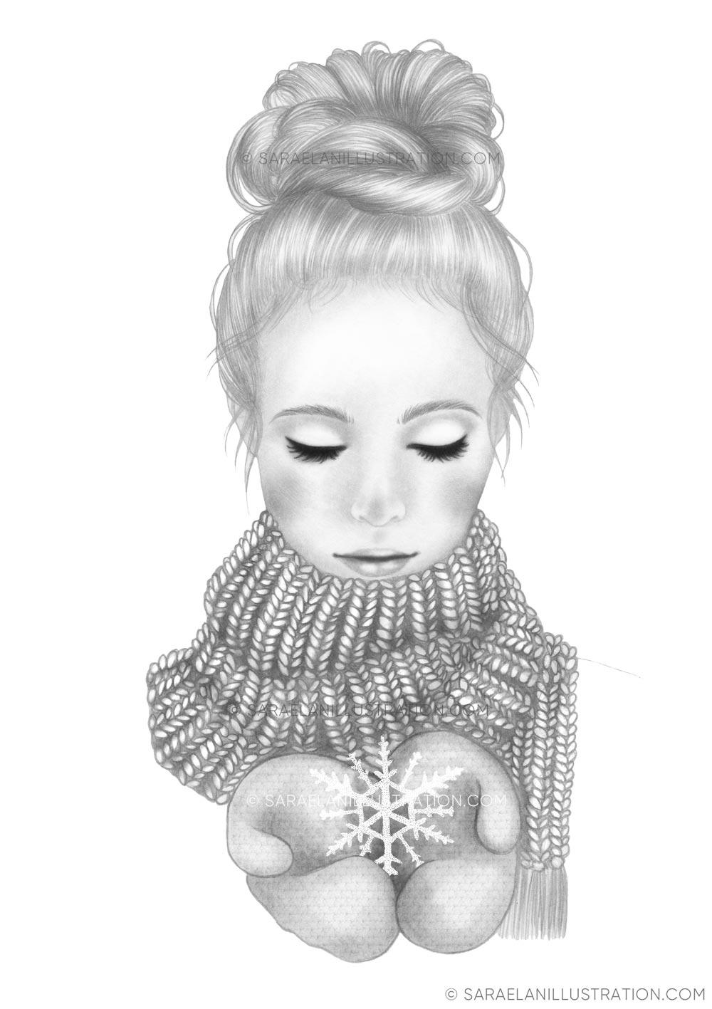 Disegno di ragazza con sciarpa e fiocco di neve tra le mani