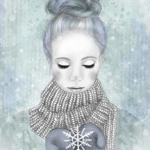 Disegno di ragazza con fiocco di neve ispirata all'inverno