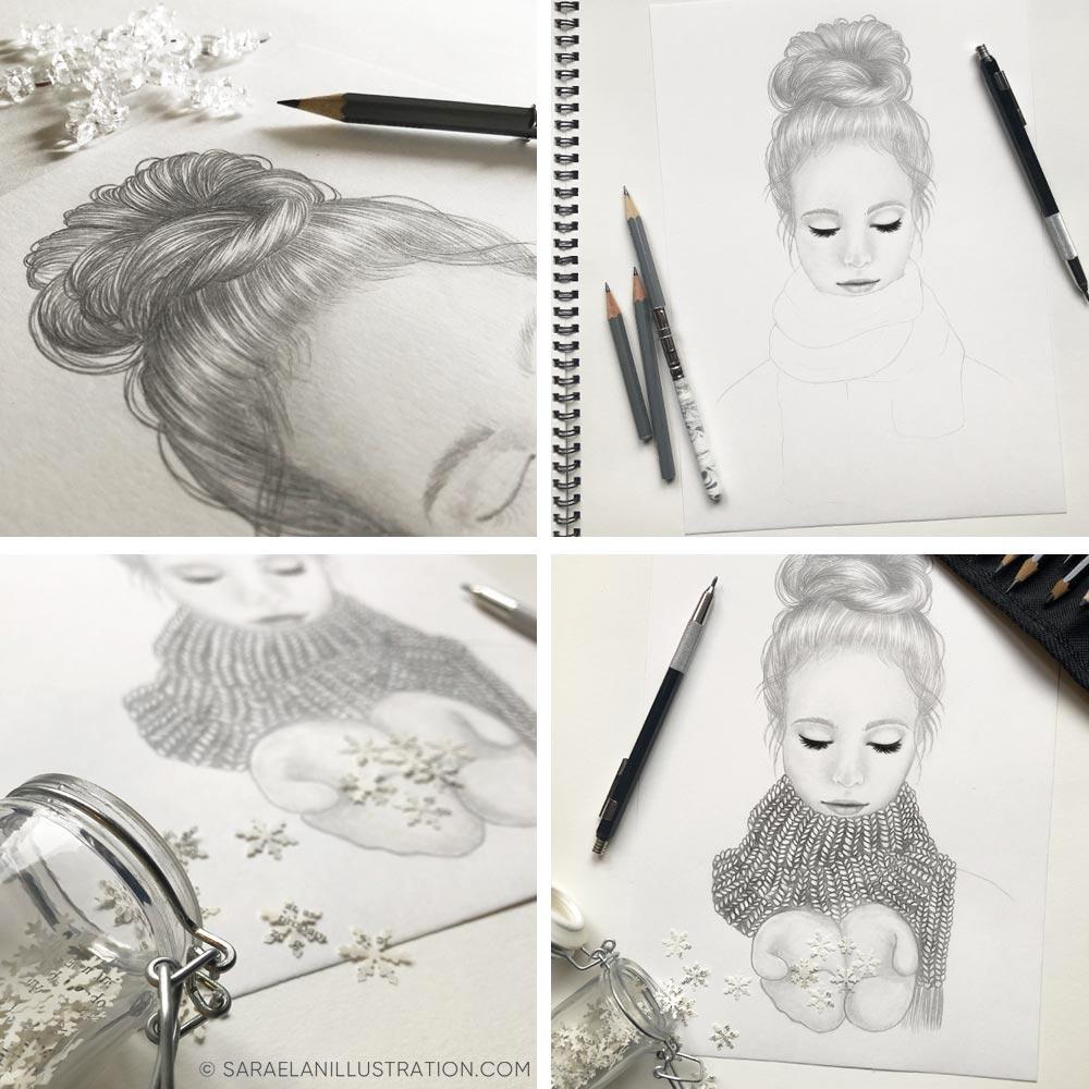 Disegni a matita e inchiostro work in progress