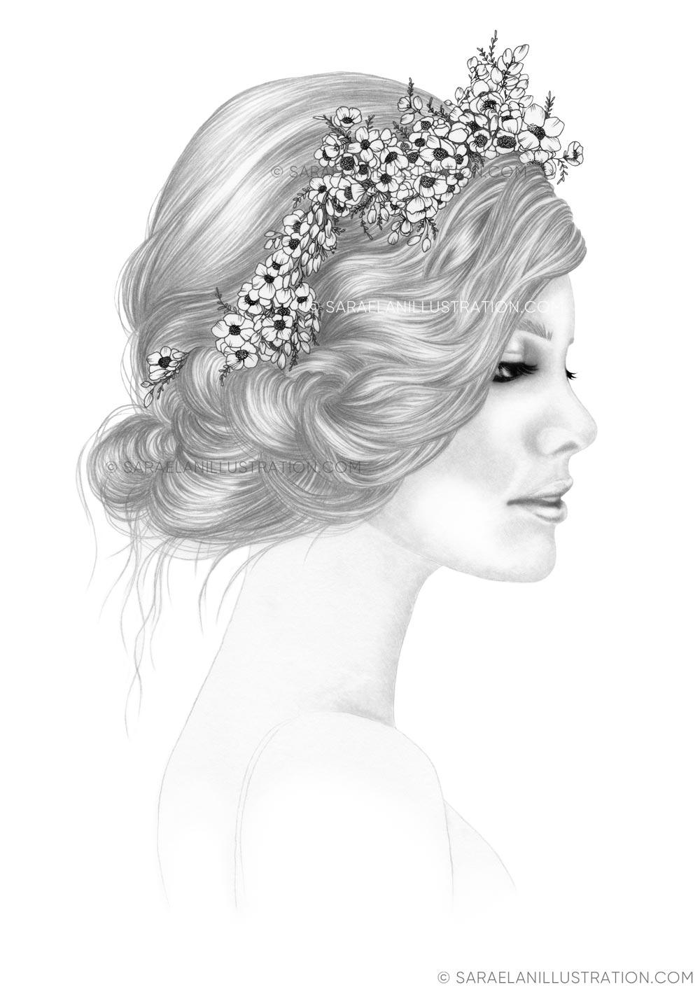 Disegno a matita e inchiostro di ragazza con fiori nei capelli
