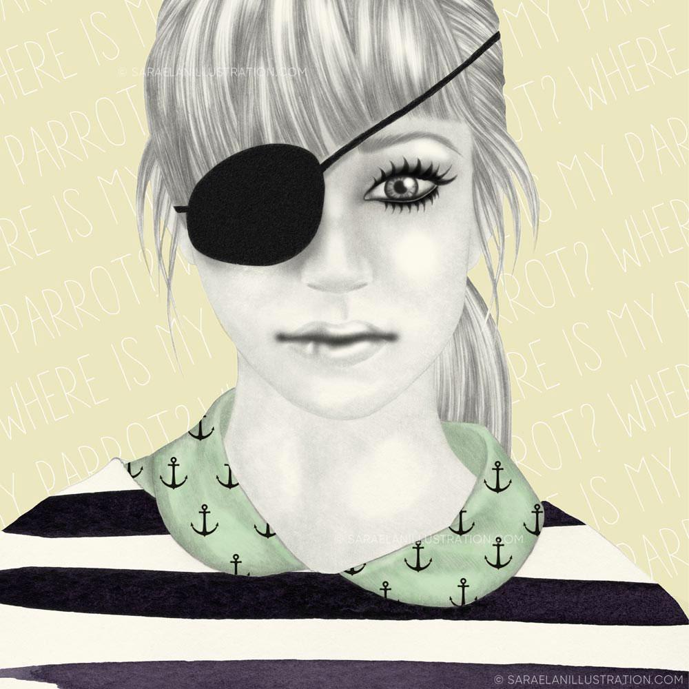 Disegno di ragazza pirata