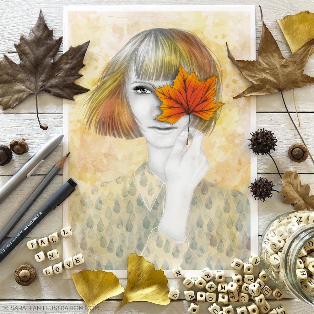 Stampa di ragazza con foglia arancione dedicata all'autunno