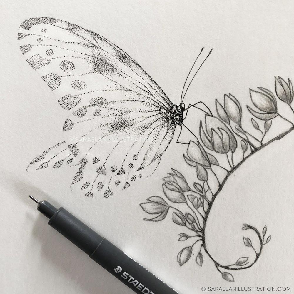 Ali di farfalla realizzate in dotwork