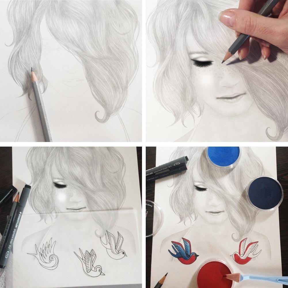 Disegno di ragazza con tatuaggi di rondini