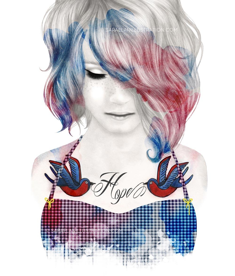 Disegno di ragazza con tatuaggi di rondini rossi e blu