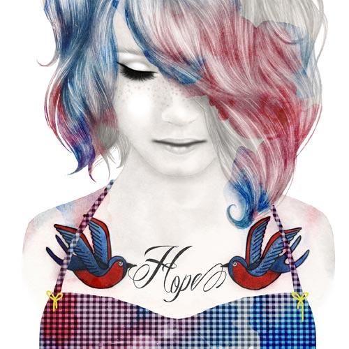 Hope, disegno di ragazza con tatuaggi di rondini