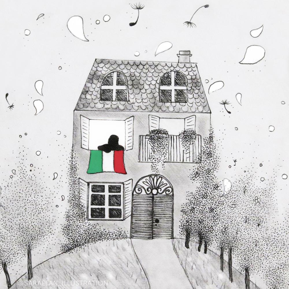 Disegno di casa con appesa la bandiera italiana alla finestra