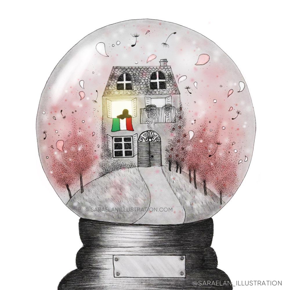 Illustrazione-Covid-19-in-Italia-casa dentro a snow ball con fiori rosa al posto della neve