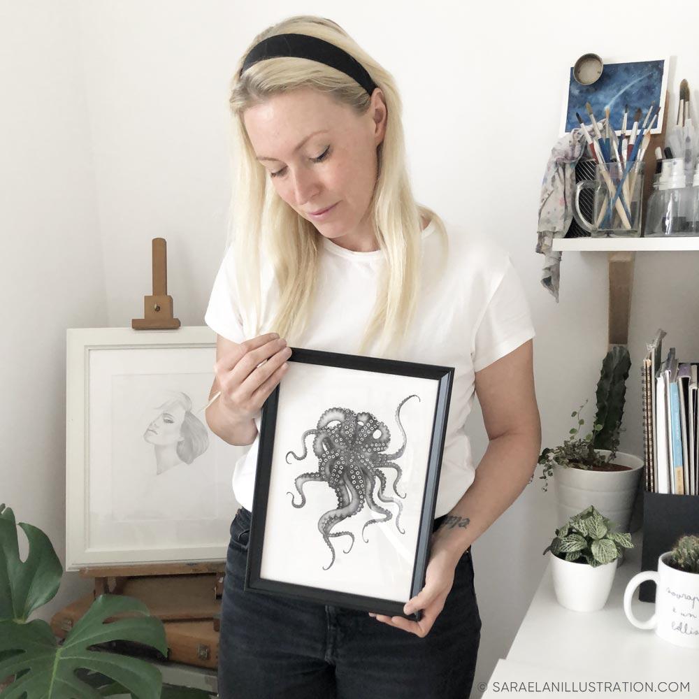 Saraelan Illustration con illustrazione polpo