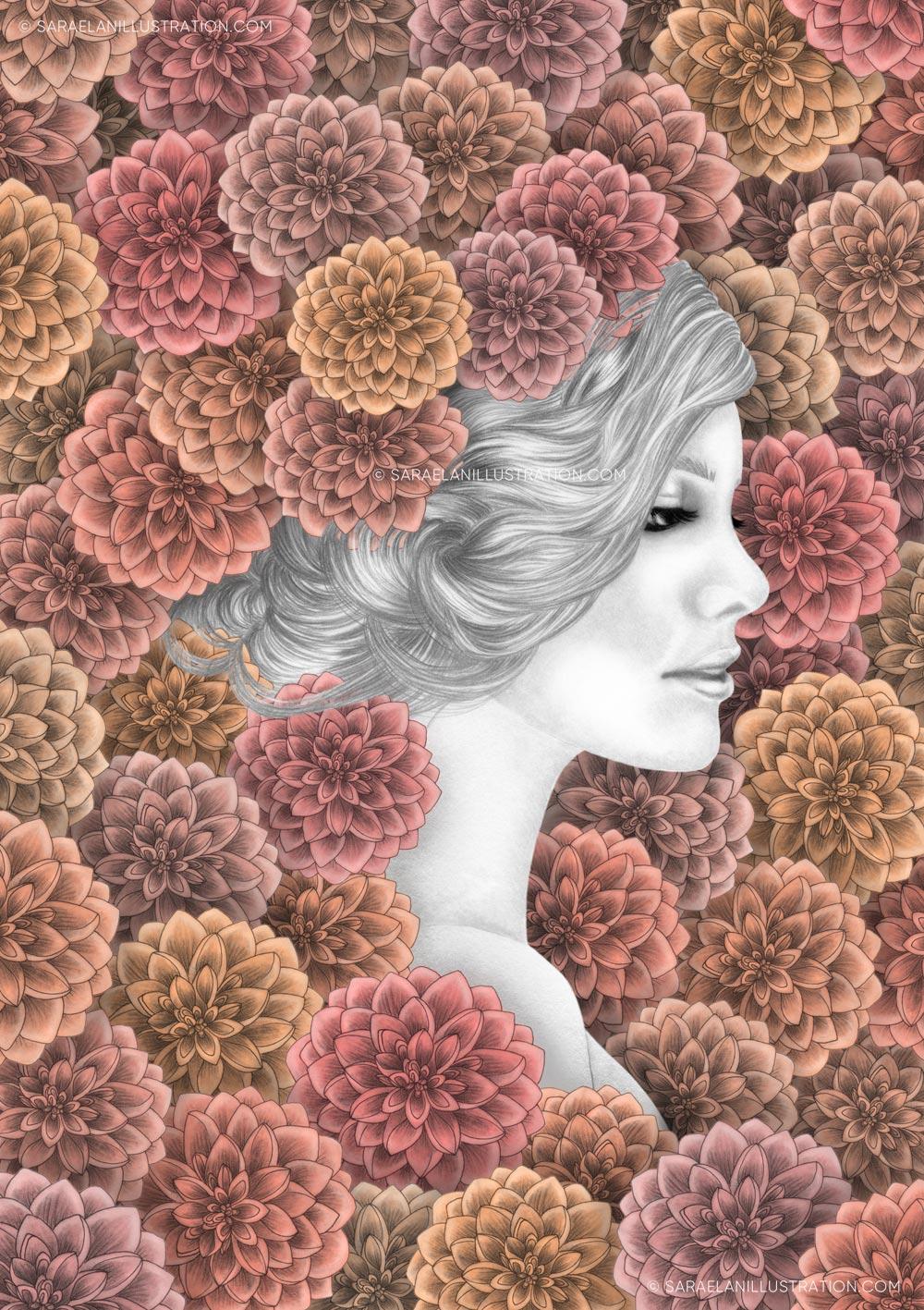 Illustrazioni-di-ragazze-con-fiori-ragazze-fiorite-dalie