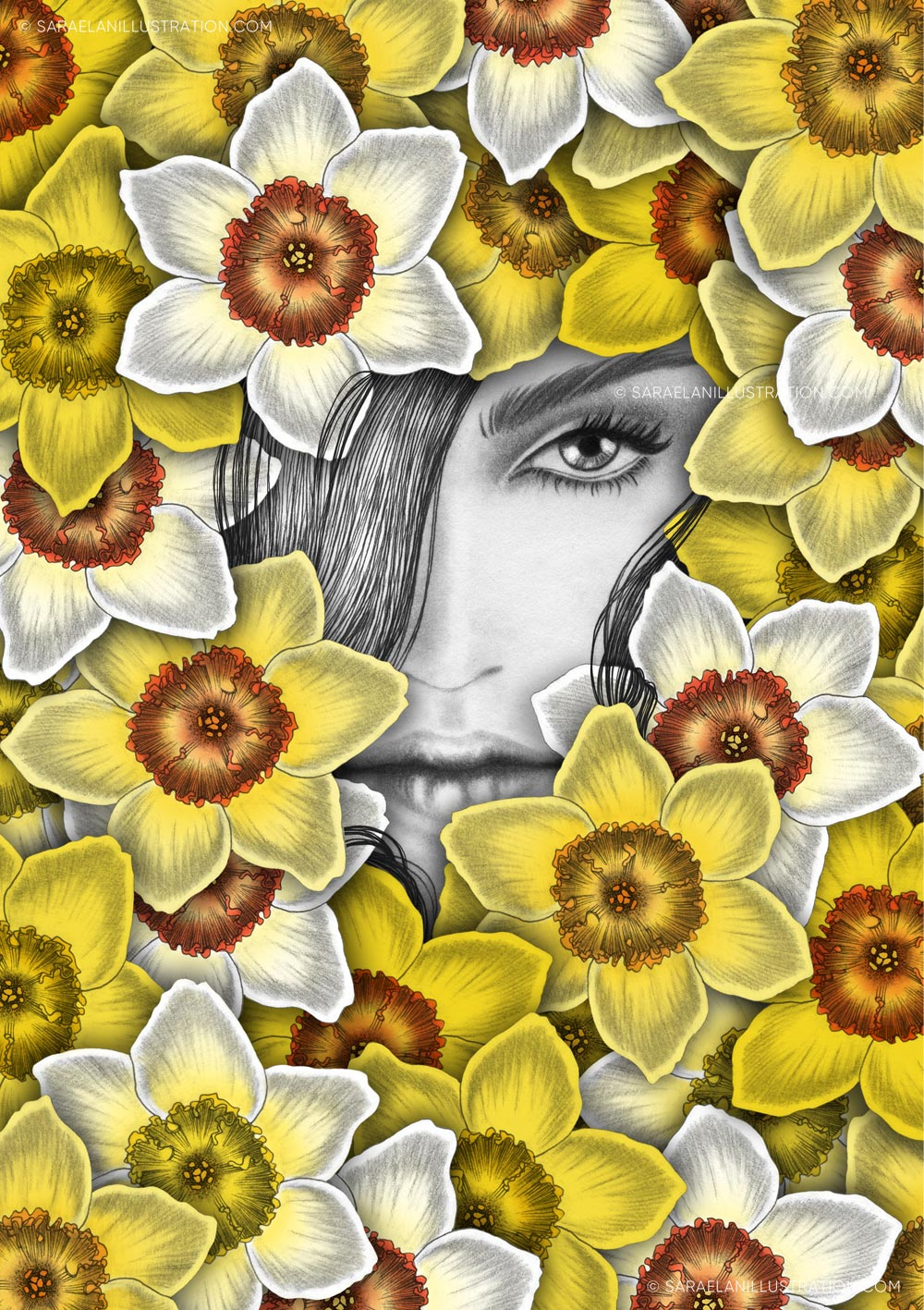 Illustrazioni-di-ragazze-con-fiori-ragazze-fiorite-narcisi