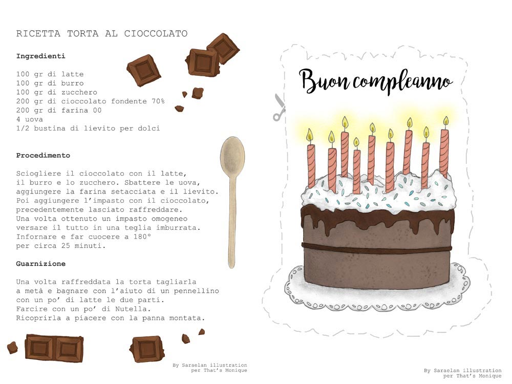 Illustrazioni personalizzate per newsletter di novembre con ricetta per torta al cioccolato e cake topper stampabile