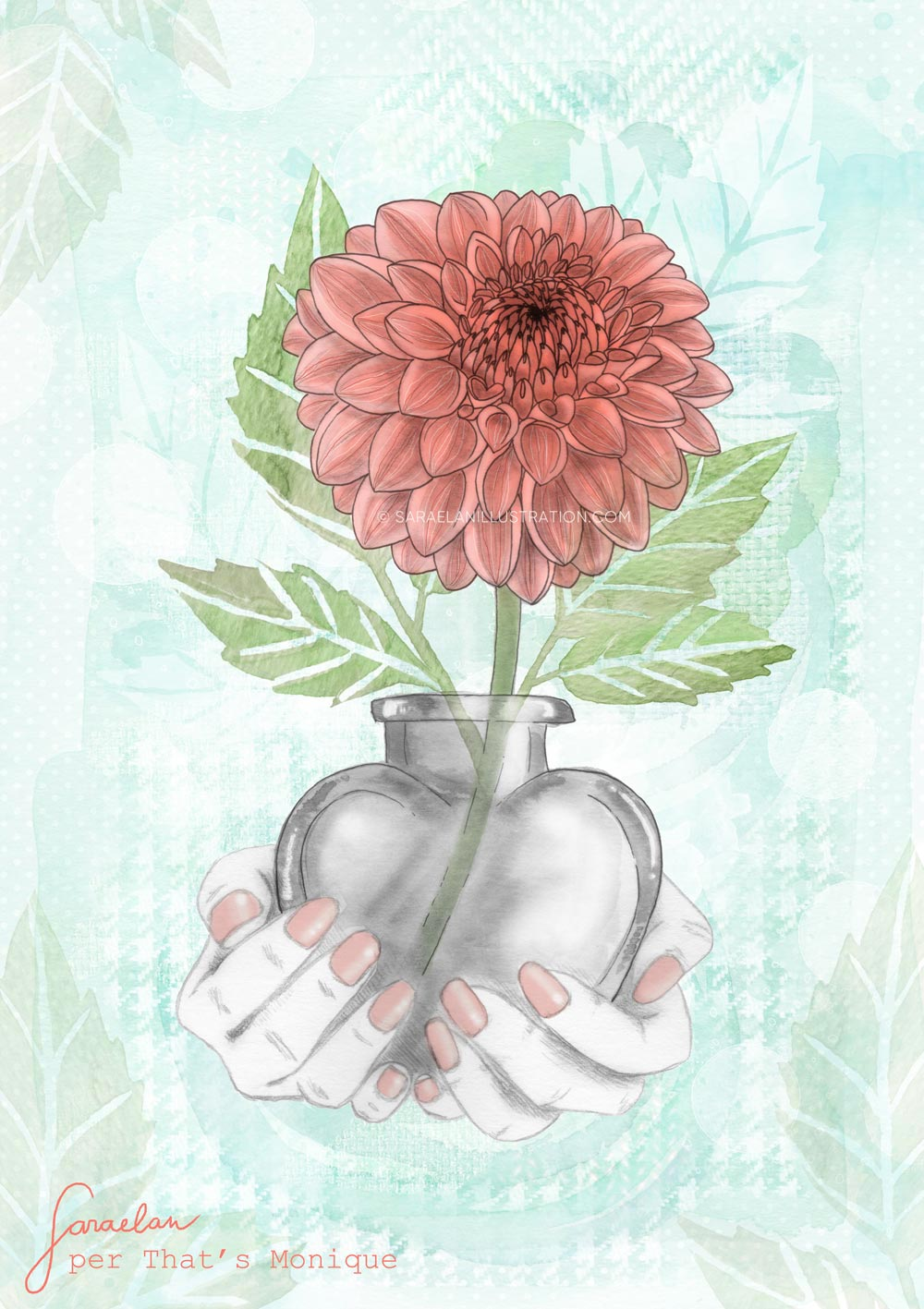 Illustrazione di Dalia color corallo e verde menta dentro a un vaso a forma di cuore