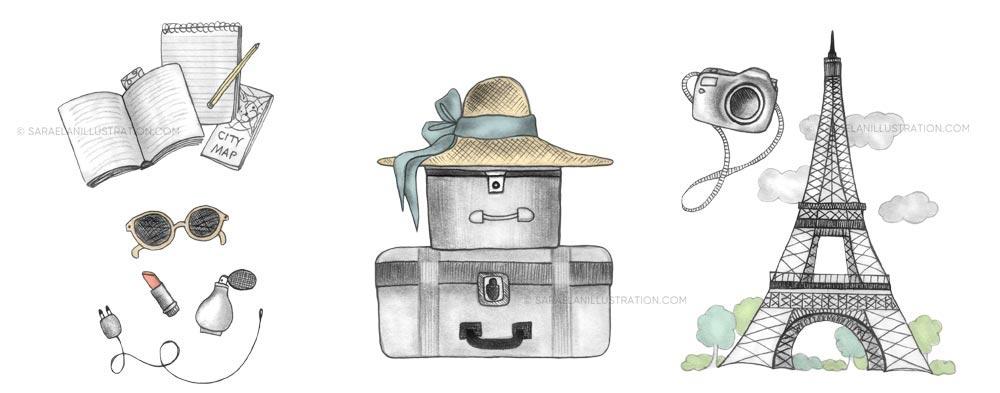 Illustrazioni a tema viaggio a Parigi con Tour Eiffel e valigia