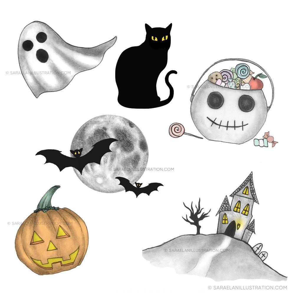 Illustrazioni personalizzate per newsletter di ottobre a tema halloween con gatto nero zucca fantasmino e casa infestata