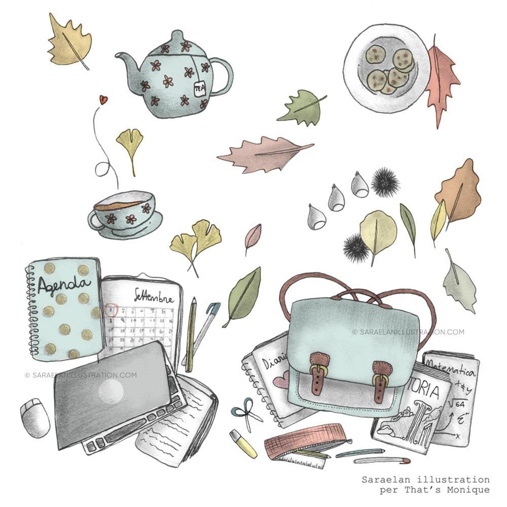 Illustrazioni personalizzate per settembre a tema autunno e back to school