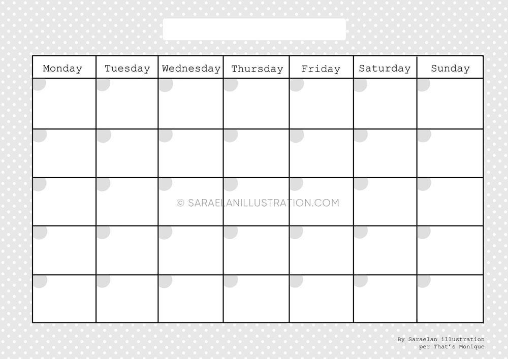 Planner mensile stampabile