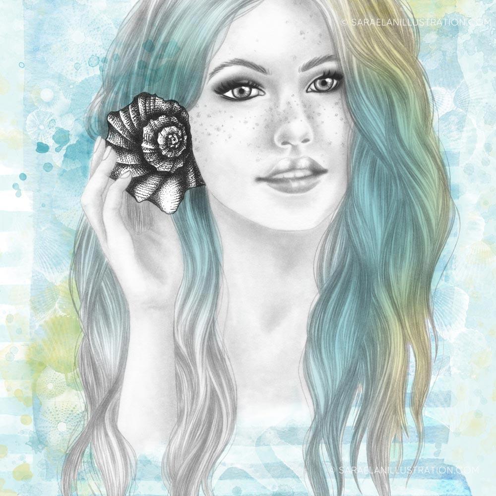 Disegno di ragazza del mare e dell' estate