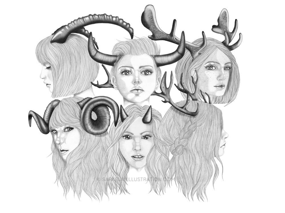 Le figlie di Cernunno - disegni di ragazze con corna di Sara Elan Donati