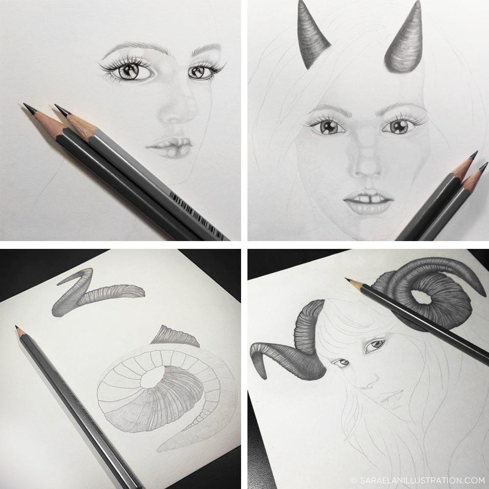 work in progress ariete e stambecco disegni di ragazze con le corna