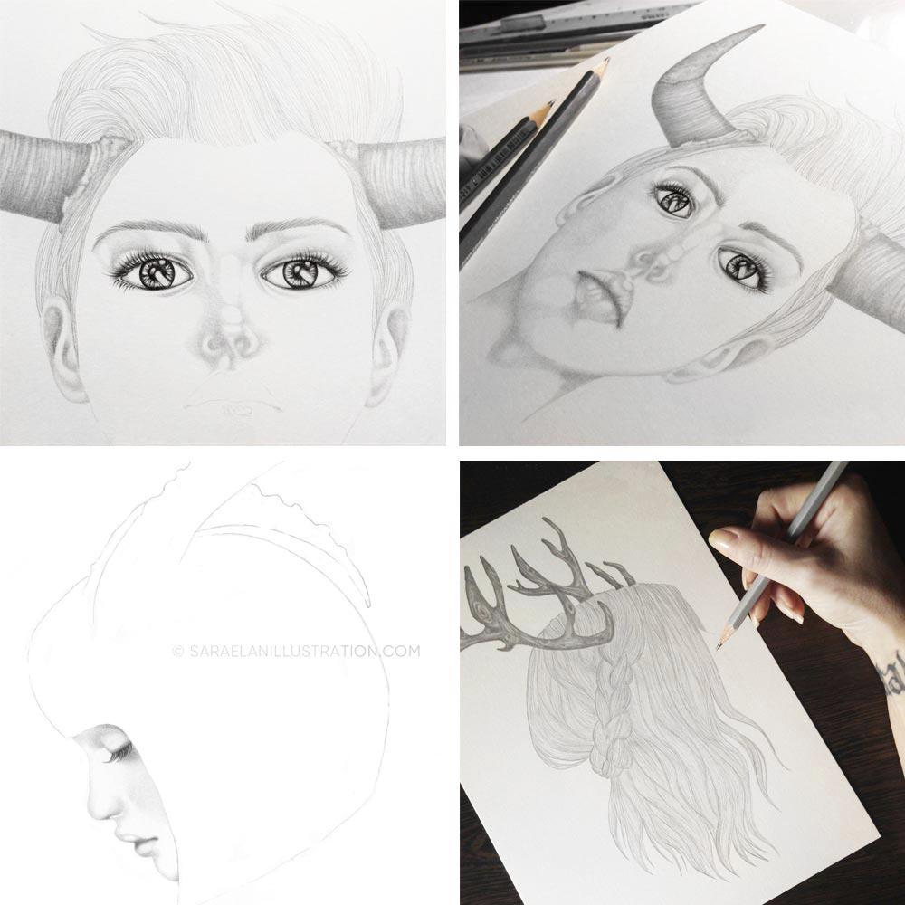 work in progress toro e cervo disegni di ragazze con le corna