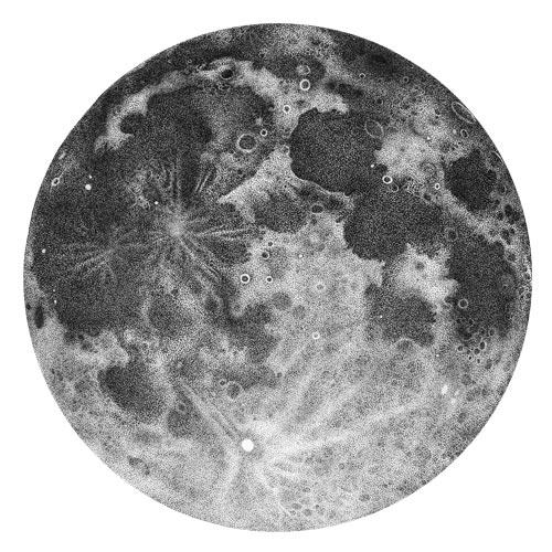 Luna piena disegnata a puntini in inchiostro con tecnica dotwork