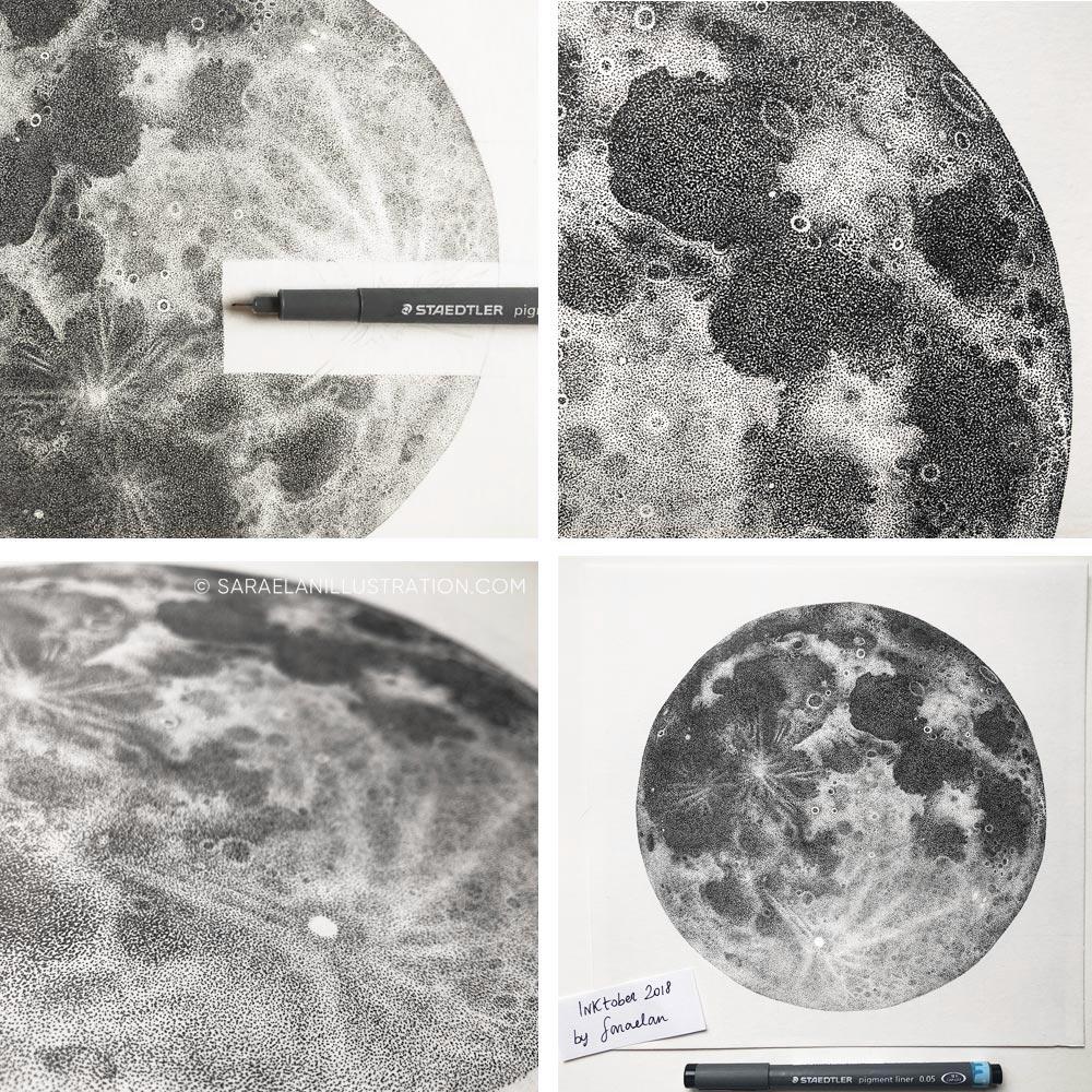 Luna piena disegnata a puntini in inchiostro con tecnica dotwork work in progress