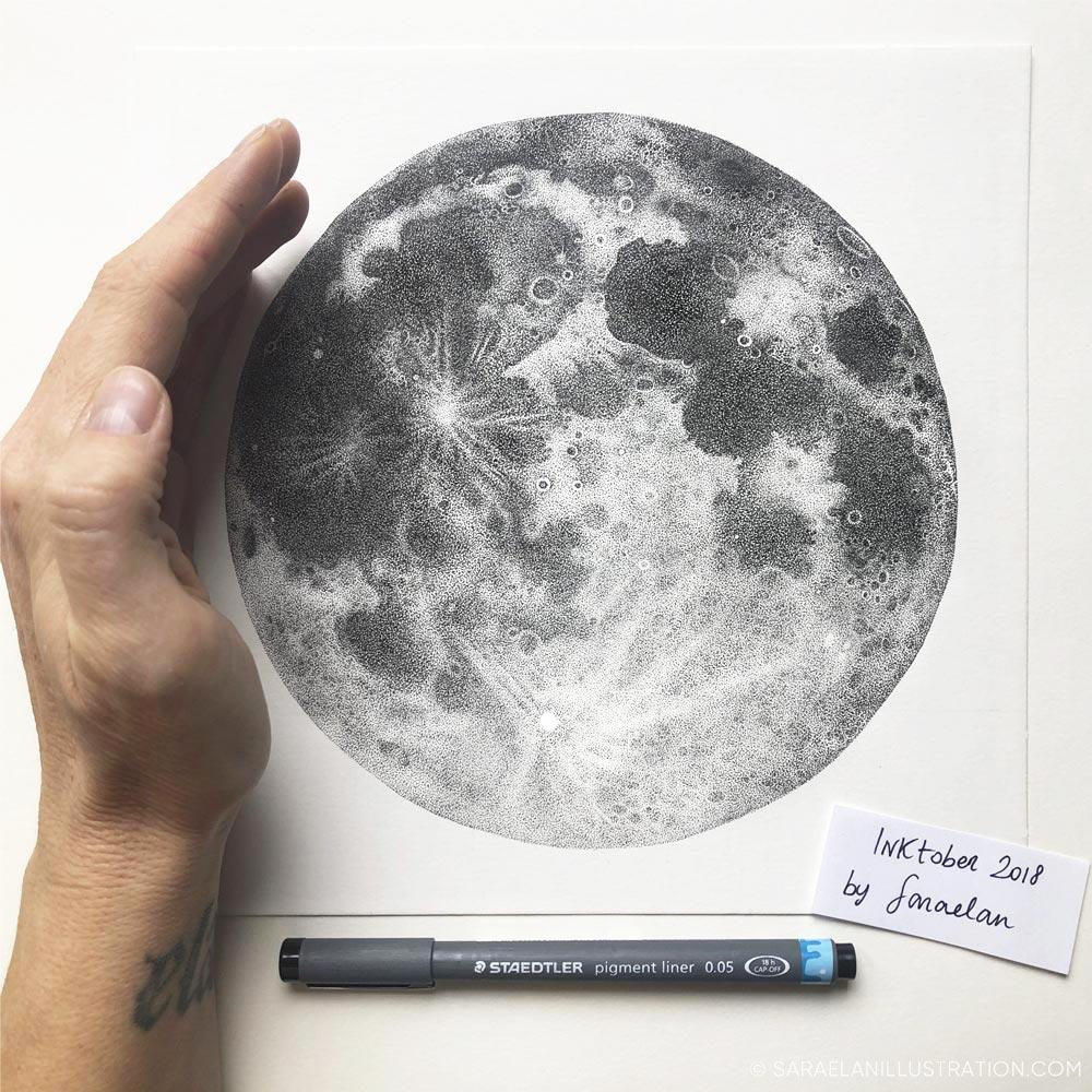 Luna piena disegnata a puntini in inchiostro con tecnica dotwork disegno finito
