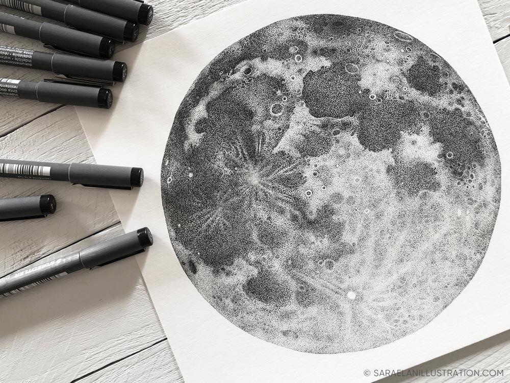 Luna piena disegnata a puntini in inchiostro con tecnica dotwork disegno originale