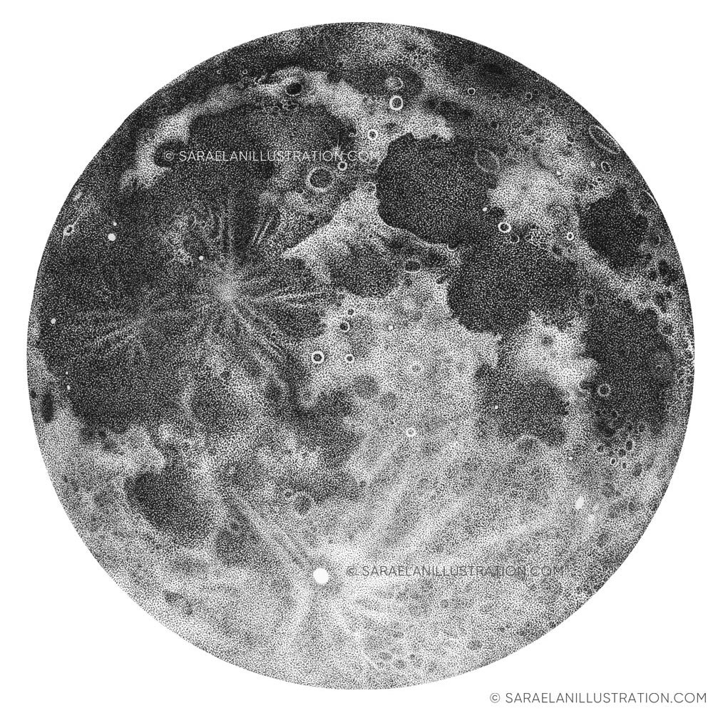Luna piena disegnata a puntini in inchiostro con tecnica dotwork puntinismo