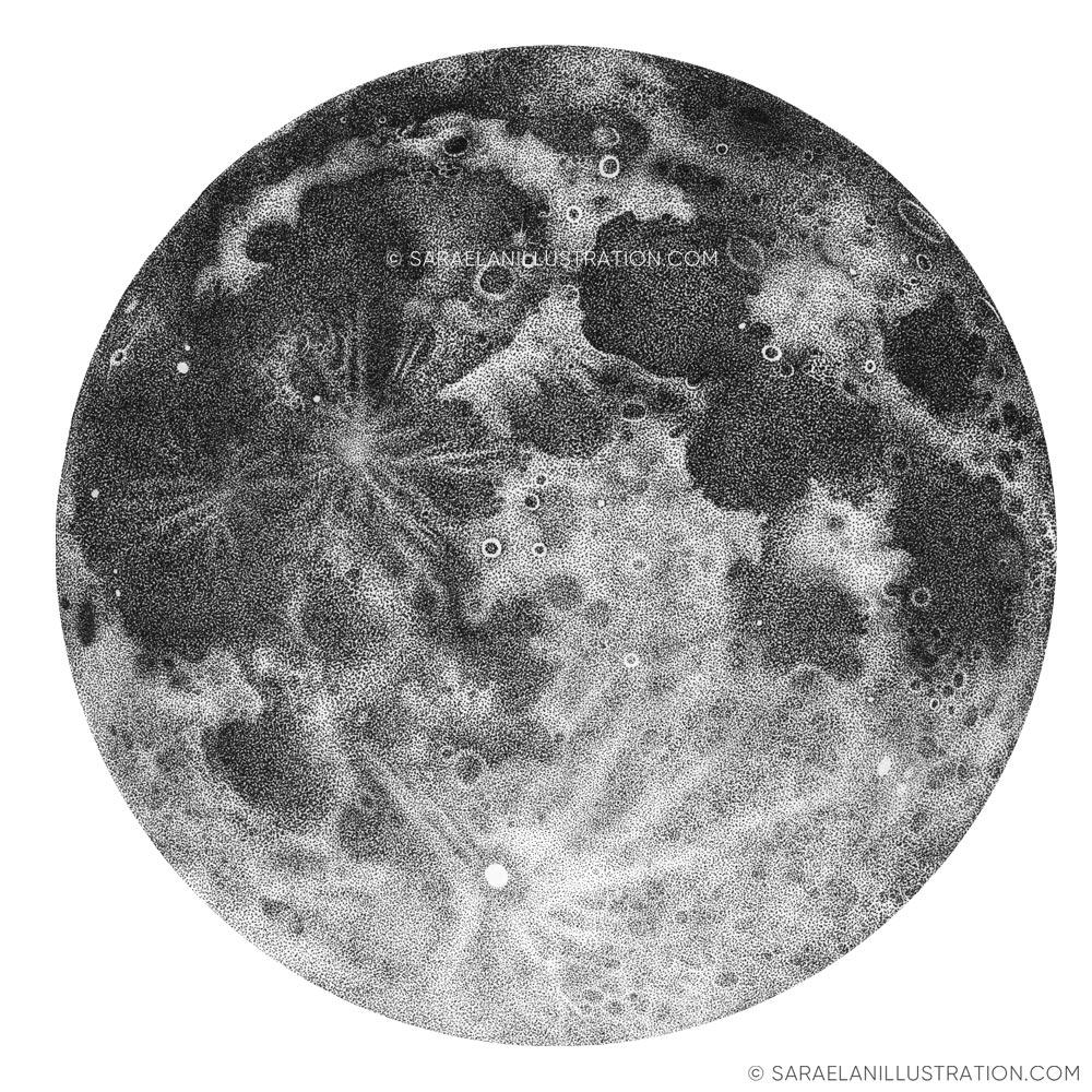 Luna piena disegnata in dotwork
