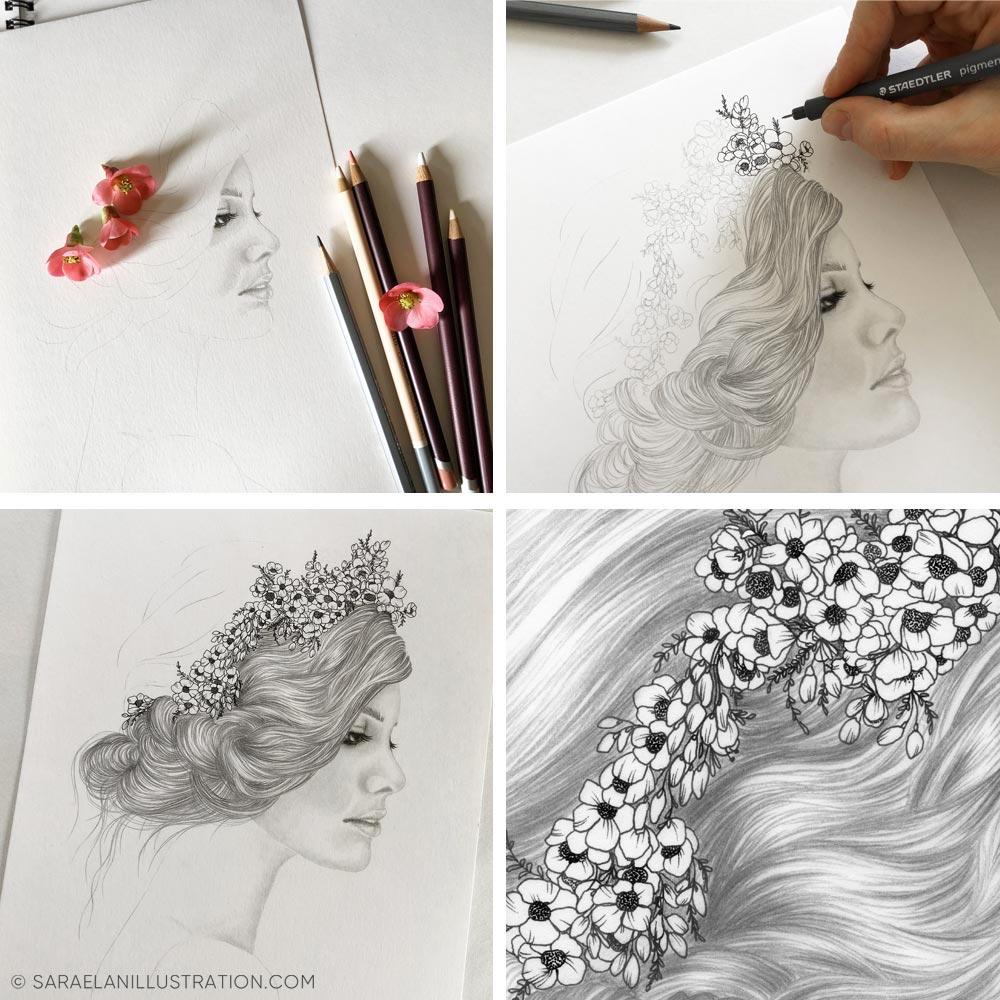 Disegno a matita e inchiostro work in progress