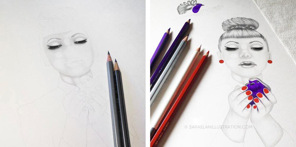 aggiungere colore ai disegni ragazza con uccellini viola