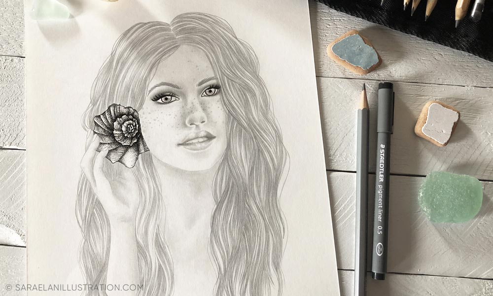 Disegno originale a matita ragazza che ascolta da una conchiglia
