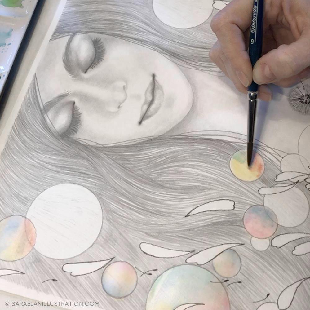 bolle di sapone disegnate in acquerello
