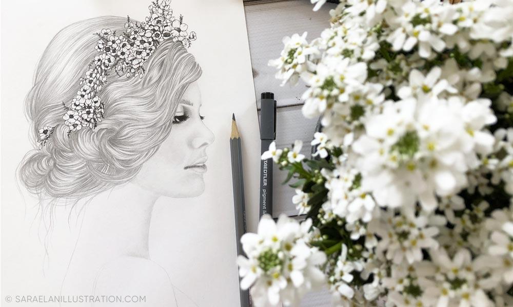 Disegno a matita di volto femminile con fiori tra i capelli