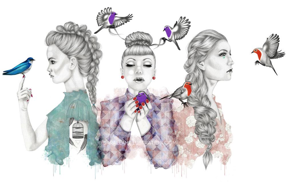 Ragazze con uccellini colorati di Saraelan illustration