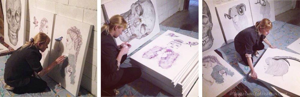 preparando le stampe per l'esposizione a Milano