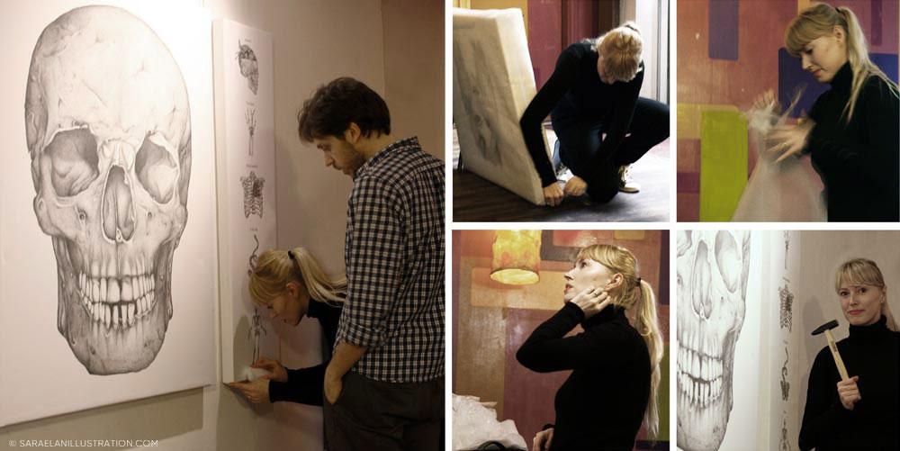 Allestendo la mostra dei miei quadri a Milano