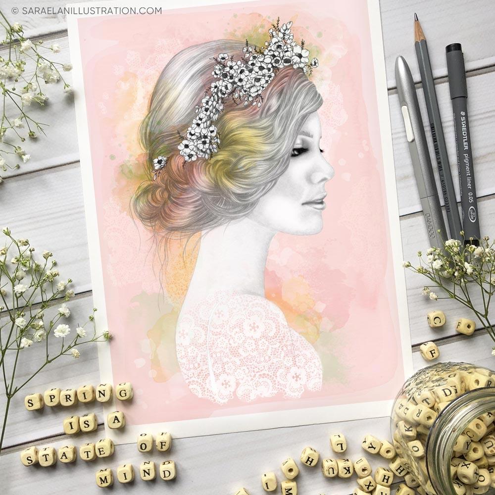 Stampa di ragazza primavera con sfondo rosa e fiori bianchi